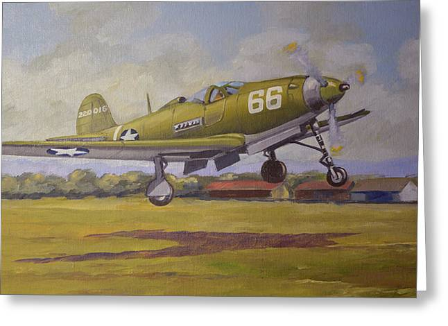 Murray Mcleod Paintings Greeting Cards - Bell Airacobra Greeting Card by Murray McLeod