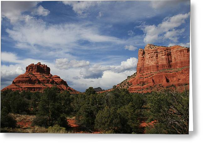Bell Rock Greeting Cards - Bell and Court House Rock Greeting Card by Ellen Henneke