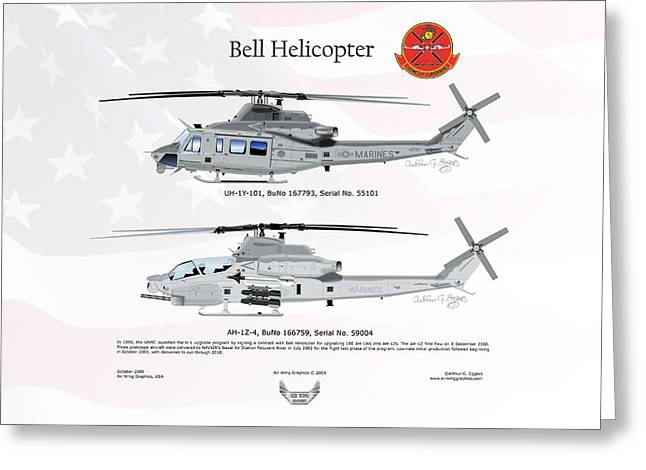 Arthur Eggers Greeting Cards - Bell Helicopter UH-1Y AH-1Z Upgrade Greeting Card by Arthur Eggers