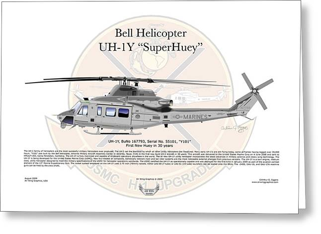 Captain Eggers Greeting Cards - Bell Helicopter UH-1Y SuperHuey Greeting Card by Arthur Eggers