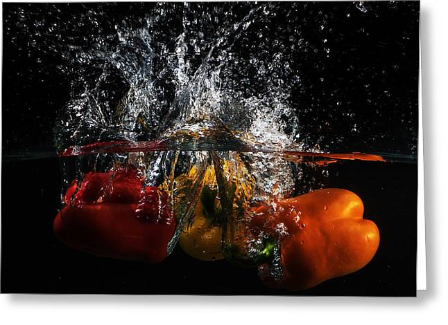 Dunk Greeting Cards - Bell Pepper Splash Greeting Card by Angie Vogel