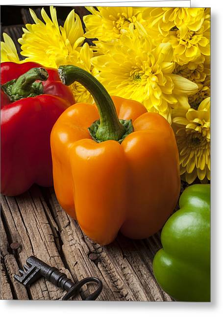 Capsicum Greeting Cards - Bell peppers and poms Greeting Card by Garry Gay