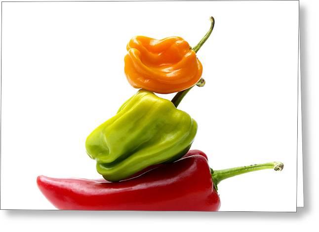 Healthy Vegetables Greeting Cards - Bell Peppers Greeting Card by Bernard Jaubert