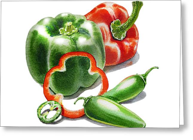 Jalapeno Greeting Cards - Bell Peppers Jalapeno Greeting Card by Irina Sztukowski
