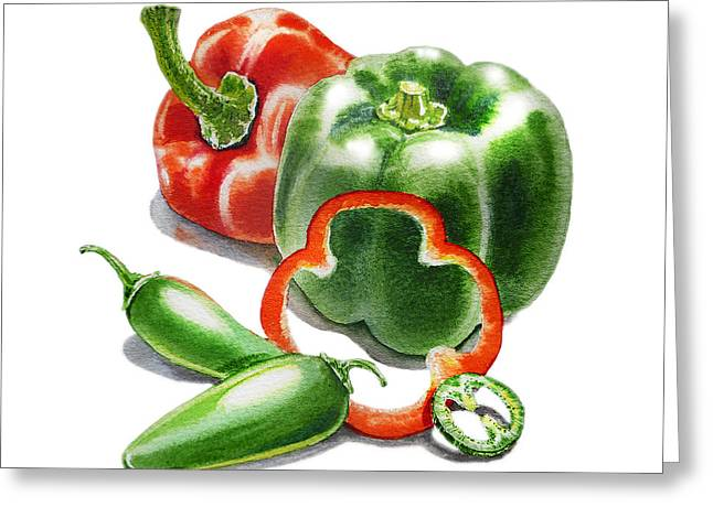 Sour Greeting Cards - Bell Peppers Jalapenos  Greeting Card by Irina Sztukowski