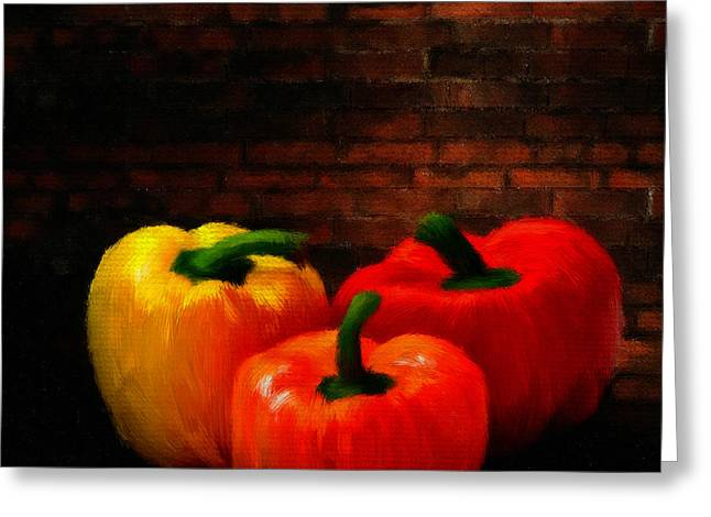 Onion Greeting Cards - Bell Peppers Greeting Card by Lourry Legarde