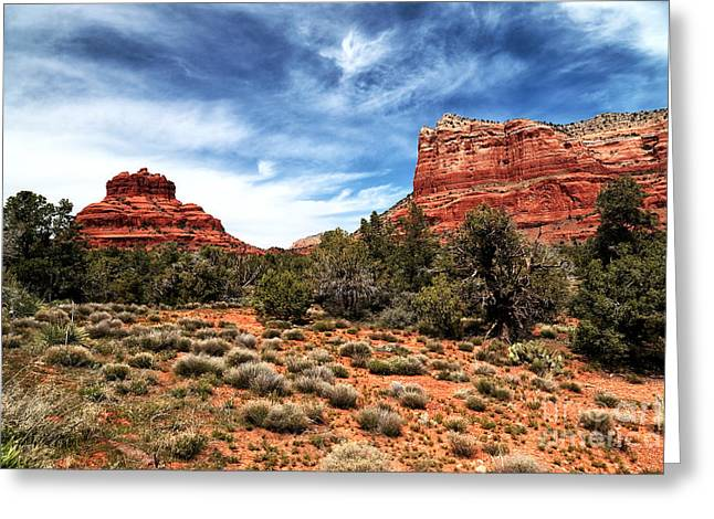 Bell Rock Greeting Cards - Bell Rock in the Distance Greeting Card by John Rizzuto