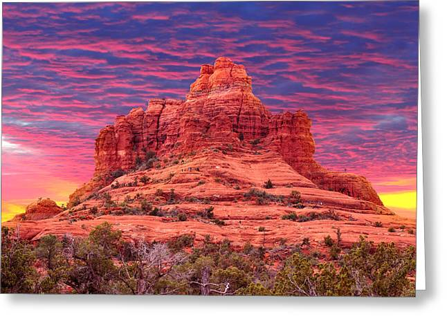 Trekking Greeting Cards - Bell Rock Sunset Greeting Card by Edwin Verin