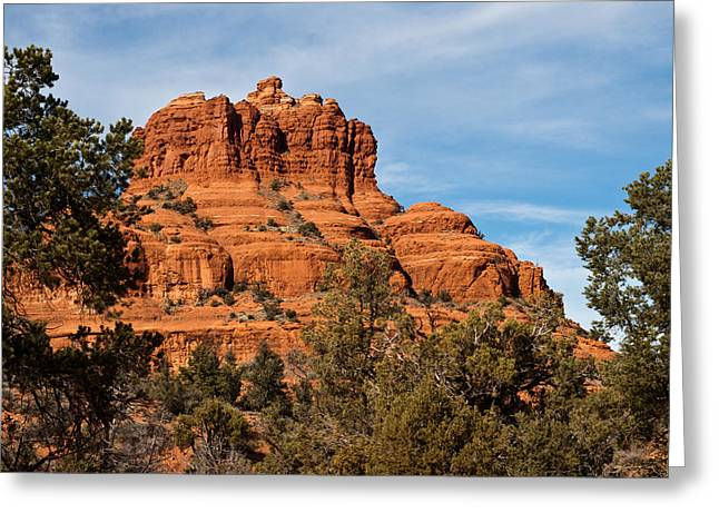 Bell Rock Through The Trees Greeting Card by Randy Bayne
