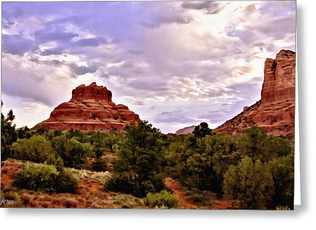 Cathedral Rock Mixed Media Greeting Cards - Bell Rock Vortex Painting Greeting Card by  Bob and Nadine Johnston