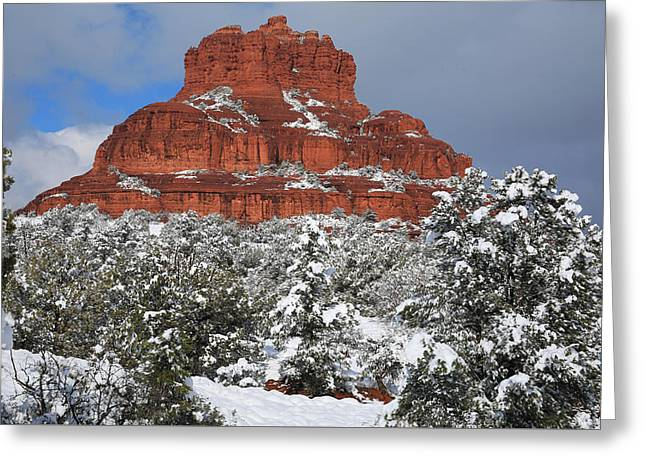 Bell Rock Greeting Cards - Bell Rock With Snow Greeting Card by Donna Kennedy