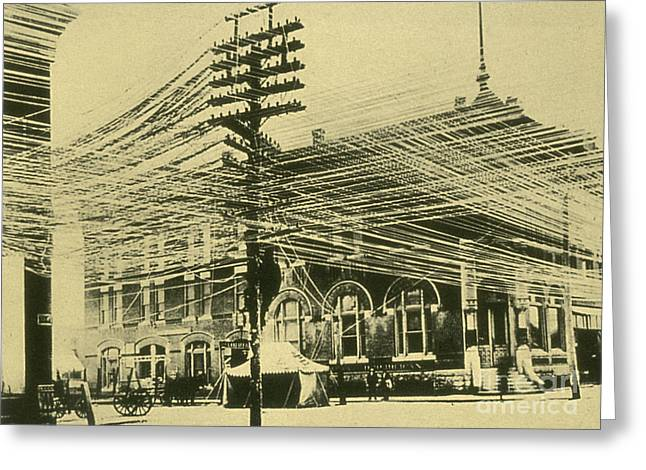 Telephone Wires Greeting Cards - Bell Telephone System Wires 1900 Greeting Card by Science Source