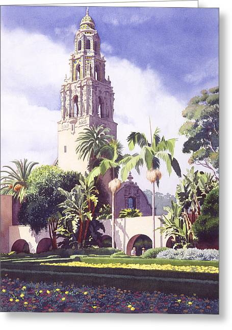 Balboa Greeting Cards - Bell Tower in Balboa Park Greeting Card by Mary Helmreich