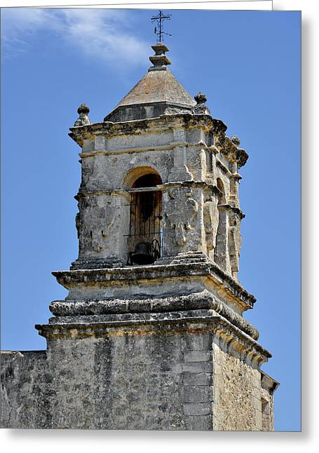 Historical Site Greeting Cards - Bell Tower Mission San Jose TX Greeting Card by Christine Till