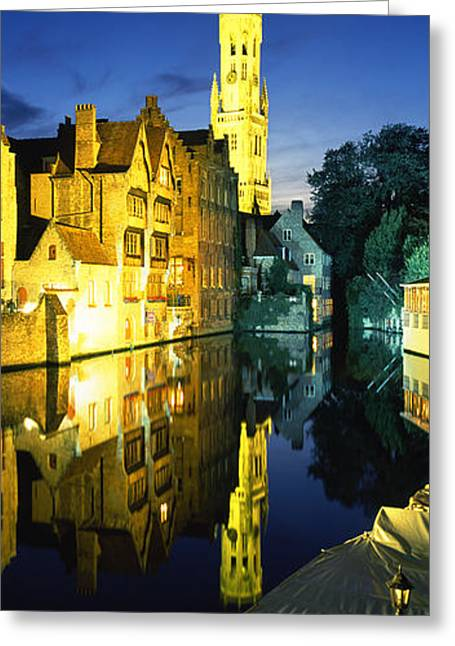 Bruges Greeting Cards - Bell Tower Of A Church, Belfry Greeting Card by Panoramic Images