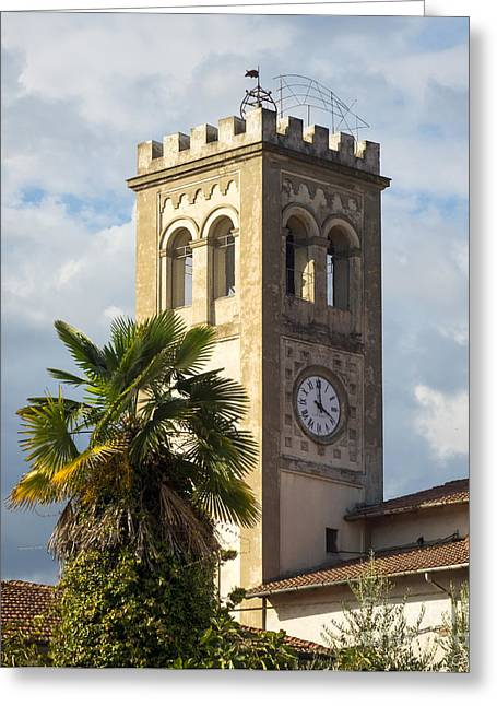 Tuscan Traditions Greeting Cards - Bell Tower of Lamporecchio Greeting Card by Prints of Italy