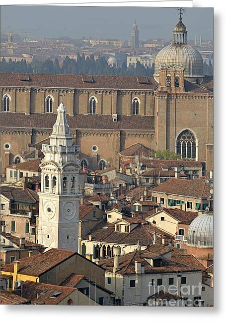 Sami Sarkis Greeting Cards - Bell tower of Santa Maria Formosa and red tiled roofs Greeting Card by Sami Sarkis