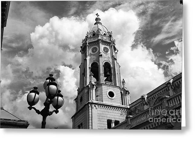 Francis B Greeting Cards - Bell Tower of St. Francis mono Greeting Card by John Rizzuto