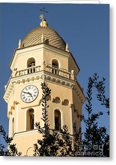 Finial Greeting Cards - Bell Tower of Vernazza Greeting Card by Prints of Italy
