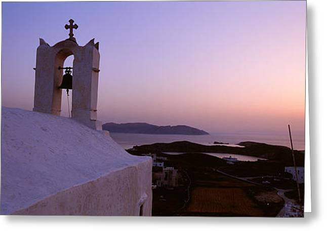 Ios Greeting Cards - Bell Tower On A Building, Ios, Cyclades Greeting Card by Panoramic Images