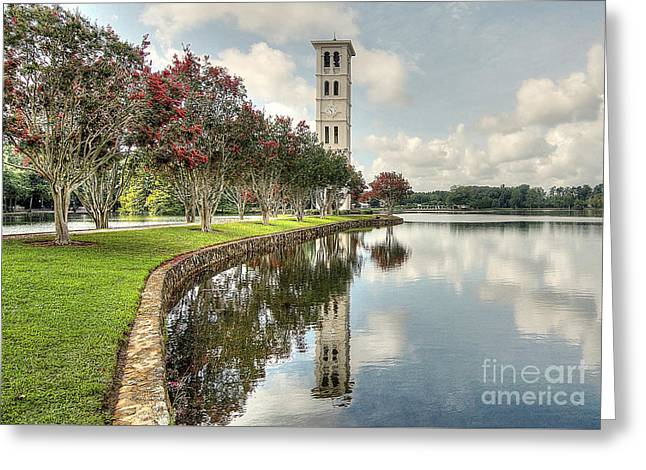 Furman Greeting Cards - Bell Tower Reflections Greeting Card by Blaine Owens
