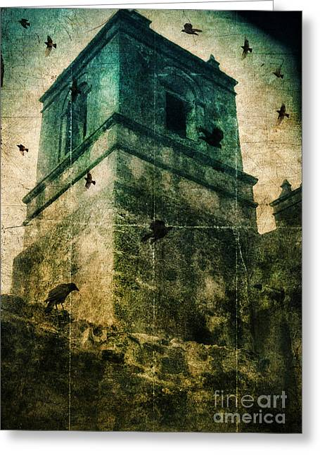 Circling Greeting Cards - Bell Tower with Birds Circling Greeting Card by Jill Battaglia