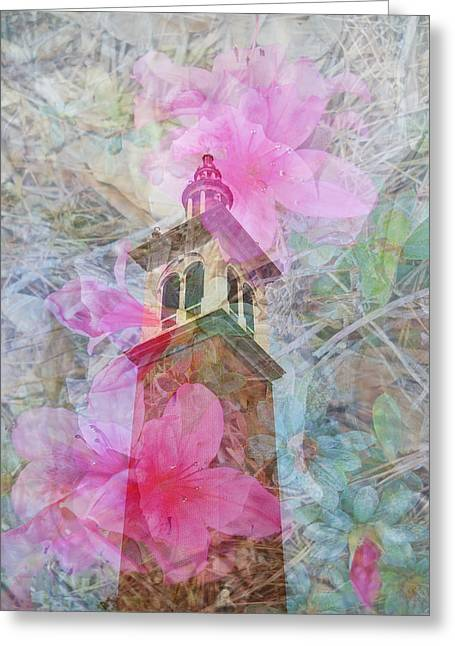 Judy Hall-folde Greeting Cards - Bell Tower Wrapped in Spring Greeting Card by Judy Hall-Folde