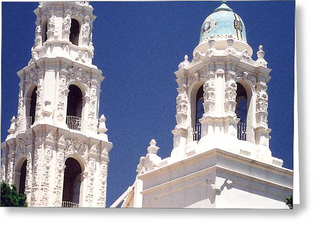 Bell Towers Greeting Card by Mary Bedy