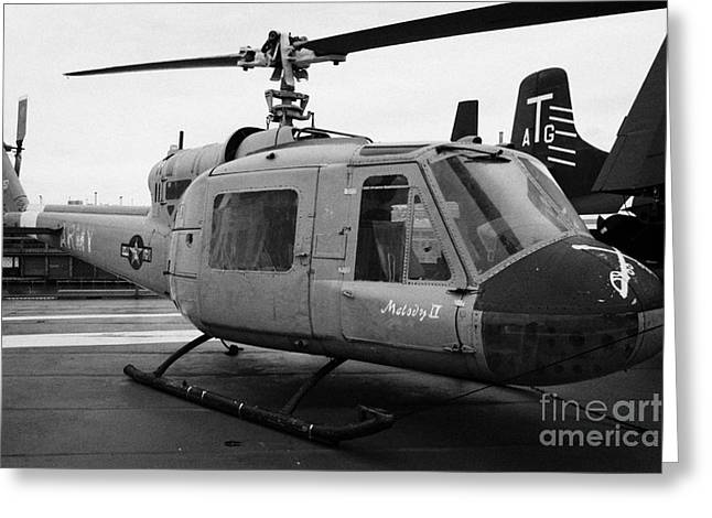Manhatan Greeting Cards - Bell UH 1A uh1 uh1a 1 Huey on display on the flight deck at the Intrepid Sea Air Space Museum Greeting Card by Joe Fox