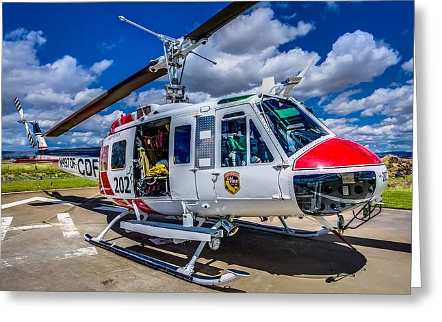 Helipad Greeting Cards - Bell UH-1Super Huey Close-up Greeting Card by Scott McGuire