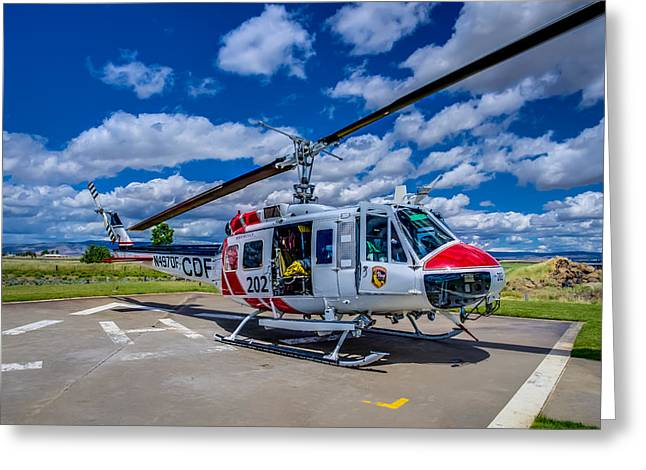 Helipad Greeting Cards - Bell UH-1Super Huey Greeting Card by Scott McGuire