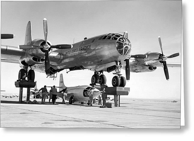 Bell X-1-3 And B-50 Mothership Greeting Card by Underwood Archives