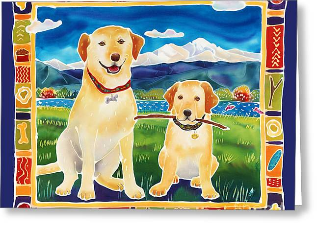 Puppies Paintings Greeting Cards - Bella and Brunos Fine Day Greeting Card by Harriet Peck Taylor