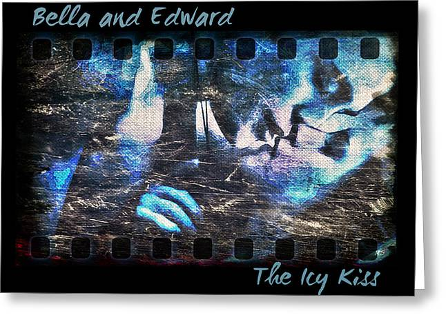 Bella And Edward - The Icy Kiss Greeting Card by Absinthe Art By Michelle LeAnn Scott