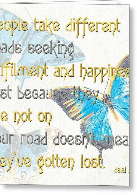 Happiness Quotes Greeting Cards - Bella Butterflies 2 Greeting Card by Debbie DeWitt