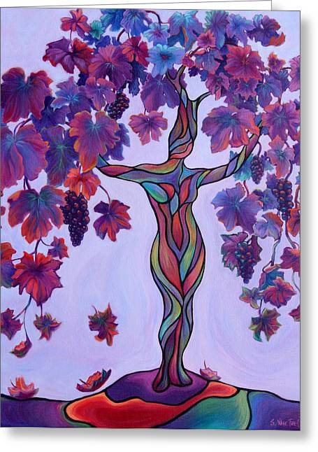 Clusters Of Grapes Paintings Greeting Cards - Bella di Vino Greeting Card by Sandi Whetzel