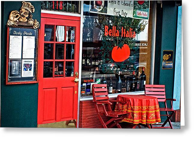 Julie Magers Soulen Greeting Cards - Bella Italia in Port Angeles Washington Greeting Card by Julie Magers Soulen