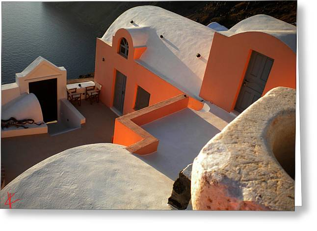 Oceon Greeting Cards - Bella Santorini Hause Greeting Card by Colette V Hera  Guggenheim