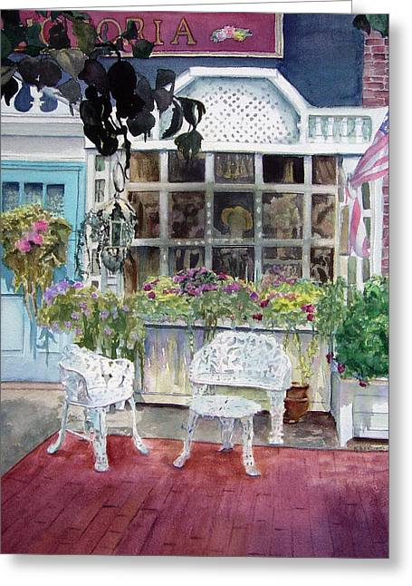 East Hampton Paintings Greeting Cards - Bella Victoria on Main Greeting Card by Katherine  Berlin