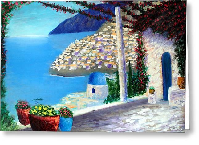 Bella Vista Di Amalfi Greeting Card by Larry Cirigliano