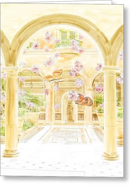 Hightower Greeting Cards - Bellagio Courtyard with Butterflies Greeting Card by Tim Hightower