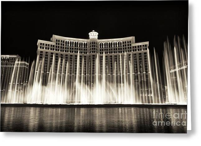 Bellagio Greeting Cards - Bellagio Fountain Dance 3 Greeting Card by John Rizzuto