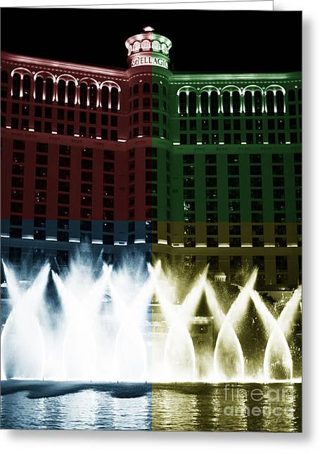 Famouse Greeting Cards - Bellagio Fountain Fusion Greeting Card by John Rizzuto