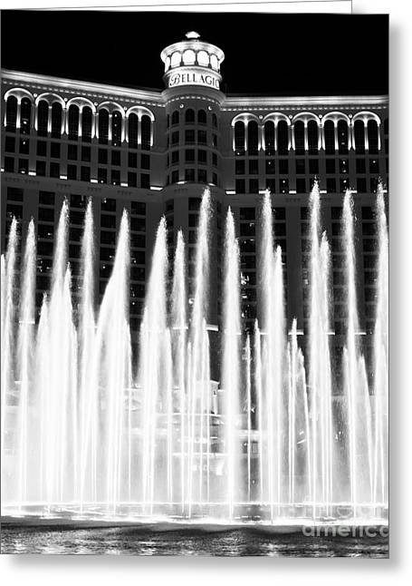 Bellagio Greeting Cards - Bellagio Fountains III Greeting Card by John Rizzuto
