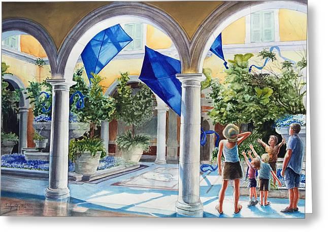 Atrium Paintings Greeting Cards - Bellagio Kite Flight Greeting Card by Carolyn Coffey Wallace