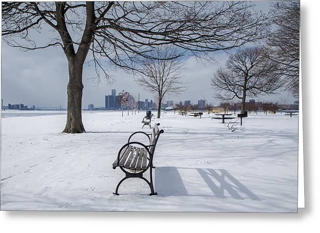 Renaissance Center Greeting Cards - Belle Isle Bench with Detroit in background Greeting Card by John McGraw