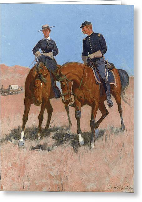 Belle Mckeever And Lt Edgar Wheelock Greeting Card by Frederic Remington
