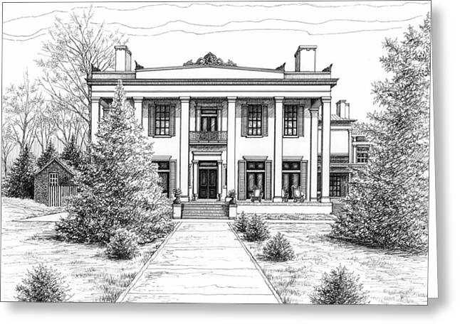 Pen And Paper Drawings Greeting Cards - Belle Meade Plantation Greeting Card by Janet King