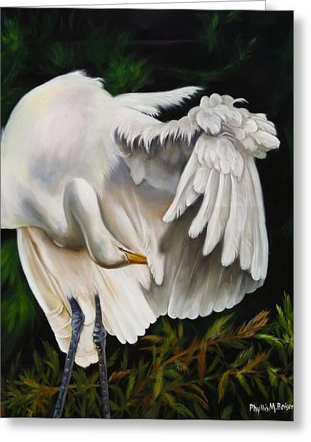 Wadingbird Greeting Cards - Belle Oiseau Greeting Card by Phyllis Beiser