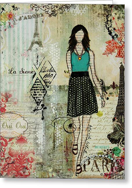 Janelle Nichol Greeting Cards - Belle Ville Belle Dame French inspired mixed media abstract artwork Greeting Card by Janelle Nichol